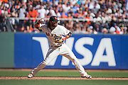 San Francisco Giants shortstop Brandon Crawford (35) throws to first base against the Los Angeles Dodgers at AT&T Park in San Francisco, Calif., on October 1, 2016. (Stan Olszewski/Special to S.F. Examiner)