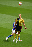 Football - 2019 / 2020 Premier League - Watford vs. Leicester City<br /> <br /> Watford's Craig Dawson holds off the challenge from Leicester City's Jamie Vardy, at Vicarage Road.<br /> <br /> COLORSPORT/ASHLEY WESTERN