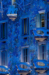 Casa Batllo balcony night blue illuminated Gaudi