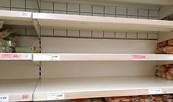 "© Licensed to London News Pictures. 22/12/2020. London, UK. Empty shelves of bakery items in Sainsbury's supermarket in north London as people buy festive groceries and food items, just three days before Christmas day. A number of supermarkets have warned that some items may run low this week. Prime Minister Boris Johnson urged in a press conference for people to ""shop normally"". It came after France closed the borders - banning UK travellers to their country, to stop the spread of the new variant of Covid-19. Photo credit: Dinendra Haria/LNP"