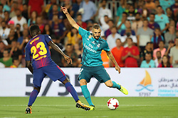 August 13, 2017 - Barcelona, Spain - Karim Benzema of Real Madrid during the Spanish Super Cup football match between FC Barcelona and Real Madrid on August 13, 2017 at Camp Nou stadium in Barcelona, Spain. (Credit Image: © Manuel Blondeau via ZUMA Wire)