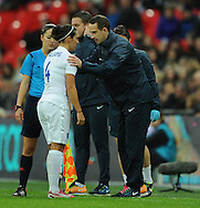 England Women Manager Mark Sampson talks with Fara Williams of England Women during the 1st half<br /> - Womens International Football - England vs Germany - Wembley Stadium - London, England - 23rdNovember 2014  - Picture Robin Parker/Sportimage