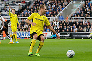 Burton Albion striker Luke Varney (19) is offside before a shot on goal during the EFL Sky Bet Championship match between Newcastle United and Burton Albion at St. James's Park, Newcastle, England on 5 April 2017. Photo by Richard Holmes.