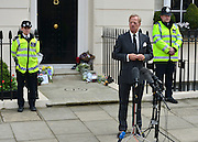 © Licensed to London News Pictures. 10/04/2013. London, UK Mark Thatcher, son of former conservative Prime Minister Margaret Thatcher, who died on 8th April from a stroke, makes a statement to the media outside his mothers house in central London today 10th April 2013. Photo credit : Stephen Simpson/LNP