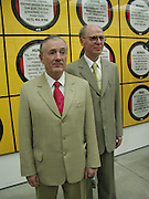Gilbert and George. New Horny pictures. Gilbert and George. White Cube, Hoxton Sq. London 1 June 2001. © Copyright Photograph by Dafydd Jones 66 Stockwell Park Rd. London SW9 0DA Tel 020 7733 0108 www.dafjones.com