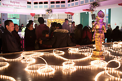 "© Licensed to London News Pictures. 01/11/2015. Leicester, UK. More than 35,000 people were estimated to have attended the annual Diwali ight switch-on which took place along the named ""Golden Mile"" in Belgrave Road, Leicester. Pictured, the displays inside the Belgrave Neighbourhood Centre. Photo credit : Dave Warren/LNP"