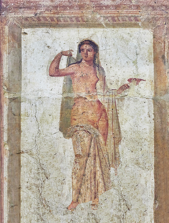 Roman erotic fresco painting of Hermaphrodite from Heraculeum, 1-50 AD , inv no 9224 , Secret Museum or Secret Cabinet, Naples National Archaeological Museum .<br /> <br /> If you prefer to buy from our ALAMY PHOTO LIBRARY  Collection visit : https://www.alamy.com/portfolio/paul-williams-funkystock - Scroll down and type - Roman Art Erotic  - into LOWER search box. {TIP - Refine search by adding a background colour as well}.<br /> <br /> Visit our ROMAN ART & HISTORIC SITES PHOTO COLLECTIONS for more photos to download or buy as wall art prints https://funkystock.photoshelter.com/gallery-collection/The-Romans-Art-Artefacts-Antiquities-Historic-Sites-Pictures-Images/C0000r2uLJJo9_s0