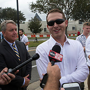 White Nationalist Will Fears speaks to the press prior to the Richard Spencer speech at the Phillips Center for the Performing Arts on the University of Florida campus in Gainesville, Florida on Thursday, October 18, 2017. (Alex Menendez)