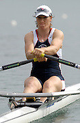 2005 FISA Rowing World Cup Munich, GERMANY. 17.06.2005;.GBR W1X Debbie Flood, moves away from the start in her morning heat on the opening day of the regatta. Photo Peter Spurrier.email images@intersport-images...[Mandatory Credit Peter Spurrier/ Intersport Images] Rowing Course, Olympic Regatta Rowing Course, Munich, GERMANY