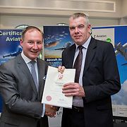 24.05.2018.       <br /> The Limerick Institute of Technology with Atlantic Air Adventures and funding from the Aviation Skillnet presented over forty certificates to Aviation professionals who have completed the Certificate in Aviation, The Aircraft Records Technician Level 7 and Part 21 Design, Level 7.<br /> <br /> Pictured at the event was Jim Gavin, The Irish Aviation Authority and Manager of the Dublin Football Team who presented, Martin Dunning with their cert.<br /> <br /> LIT in partnership with Atlantic Air Adventures, CAE Parc Aviation, Part 21 Design and industry experts such as Anton Tams, GECAS, Don Salmon, CAE Parc Aviation and Mick Malone, Part 21 Design have developed and deliver these key training programmes with funding for aviation companies provided by The Aviation Skillnet.<br /> <br /> . Picture: Alan Place