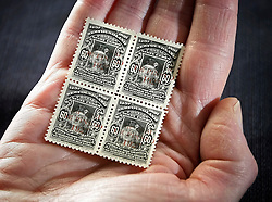 © Lisenced to London News Pictures. 01/09/2011. London, UK. A block group of 1927 De Pinedo Air Mail stamps is pictured at the Philatelic collection of Lord Steinberg at Sotheby's auction house, the stamps have an estimated value of £120,000-£150,000 GBP 136,000-170,000 Euros. They will be available in a series of two sales in London on 6-8 September and 21 September 2011. Photo: Shaun Curry/LNP/FNI