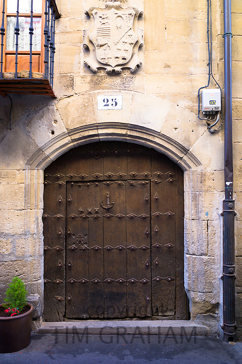 Traditional doorway in Basque town of Laguardia in Rioja-Alavesa area of Spain
