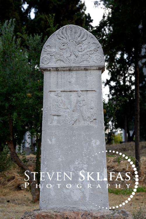 Sacred Way marble stele of Hermon, son of Athenokles (350 BC). Kerameikos. Athens. Greece.