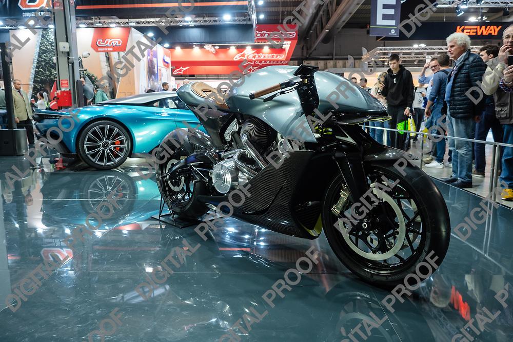 RHO Fieramilano, Milan Italy - November 07, 2019 EICMA Expo. Aston Martin unveils new motorcycle in partnership with Brough Superior at EICMA 2019