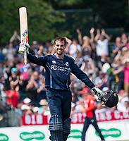 EDINBURGH, SCOTLAND - JUNE 10: Scotland top order batsman, Calum Macleod, reaches 100 during the first innings of the one-off ODI at the Grange Cricket Club on June 10, 2018 in Edinburgh, Scotland. (Photo by MB Media/Getty Images)