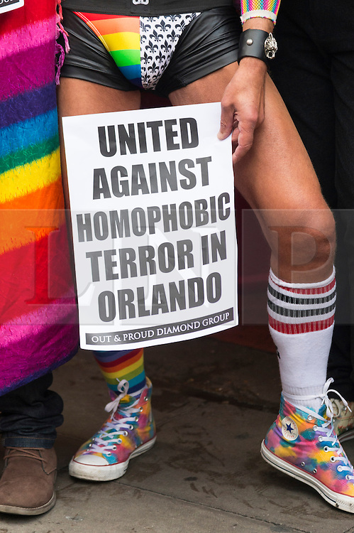 © Licensed to London News Pictures. 13/06/2016. London's gay village joins hands to honour victims of Pulse shooting in the United States.  It is alleged that The gunman, Omar Mateen killed at least 50 people in Pulse nightclub in Floriday, USA.  London, UK. Photo credit: Ray Tang/LNP