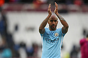 Manchester City midfielder Fabian Delph (18) applauds the visiting fans after the Premier League match between West Ham United and Manchester City at the London Stadium, London, England on 29 April 2018. Picture by Toyin Oshodi.