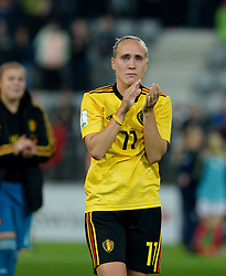 October 9, 2018 - Biel, SWITZERLAND - Belgium's Janice Cayman in tears after having failed to qualify after a soccer game between Switzerland and Belgium's national team the Red Flames, Tuesday 09 October 2018, in Biel, Switzerland, the return leg of the play-offs qualification games for the women's 2019 World Cup. BELGA PHOTO DAVID CATRY (Credit Image: © David Catry/Belga via ZUMA Press)