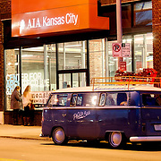 The Photo Bus, a restored VW Bus converted into a mobile photo booth, at AIAKC for March 2014 First Friday in the Crossroads Dist., Kansas City, MO.