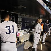 Carlos Beltran, New York Yankees, in the dugout preparing to bat during the New York Mets Vs New York Yankees MLB regular season baseball game at Citi Field, Queens, New York. USA. 20th September 2015. Photo Tim Clayton