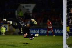 Notts County's Bartosz Bialkowski concedes a goal  - Photo mandatory by-line: Mitchell Gunn/JMP - Tel: Mobile: 07966 386802 17/09/2013 - SPORT - FOOTBALL -  Matchroom Stadium - London - Leyton Orient v Notts County - Sky Bet League One