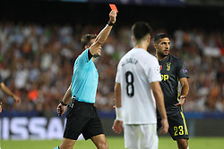 September 19, 2018 - Valencia, Spain - referee Felix Brych shows a red card to Cristiano Ronaldo of Juventus FC during the UEFA Champions League, Group H football match between Valencia CF and Juventus FC on September 19, 2018 at Mestalla stadium in Valencia, Spain (Credit Image: © Manuel Blondeau via ZUMA Wire)