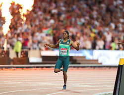 London, August 13 2017 . Caster Semenya, South Africa, wins the women's 800m final on day ten of the IAAF London 2017 world Championships at the London Stadium. © Paul Davey.