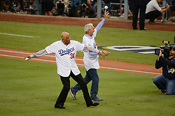 November 1, 2017 - Los Angeles, CA, United States - Dodgers Don Newcomb and Sandy Kolfax threw out the first pitch at game 7 at the World Series at Dodger Stadium Wednesday, November 1, 2017. (Credit Image: © David Crane/Los Angeles Daily News via ZUMA Wire)