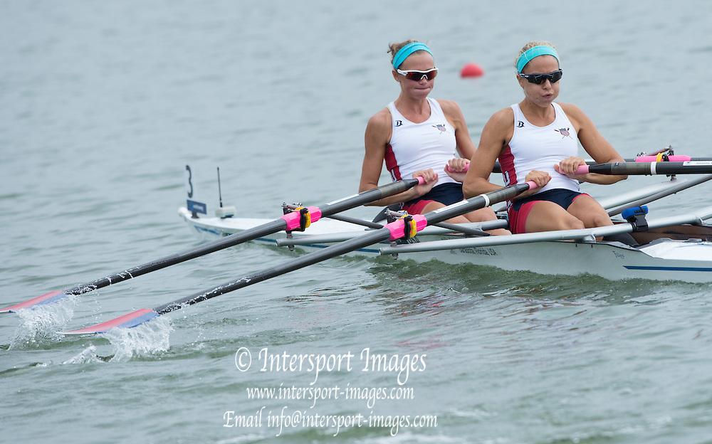 Varese, ITALY USA BLW2X. Bow. Devin NORDER and Shawna SIMS. semi final at the FISA U23 World Championships. Held on Lake Varese  14:29:09  Saturday  26/07/2014  [Mandatory Credit; Peter Spurrier/Intersport-images]