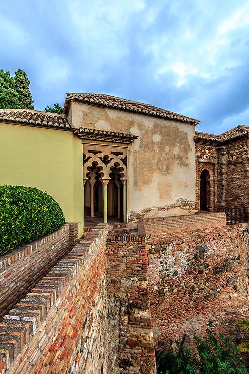 Double arches in the Torre de Armadura in the Alcazaba of Málaga in Malaga, Spain.  The Alcazaba of Málaga is the best-preserved Moorish fortress-palace in Malaga, Spain.