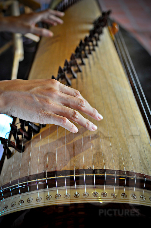 Hands of a musician are seen playing a traditional Vietnamese instrument, Khanh Hoa province, Vietnam, Southeast Asia