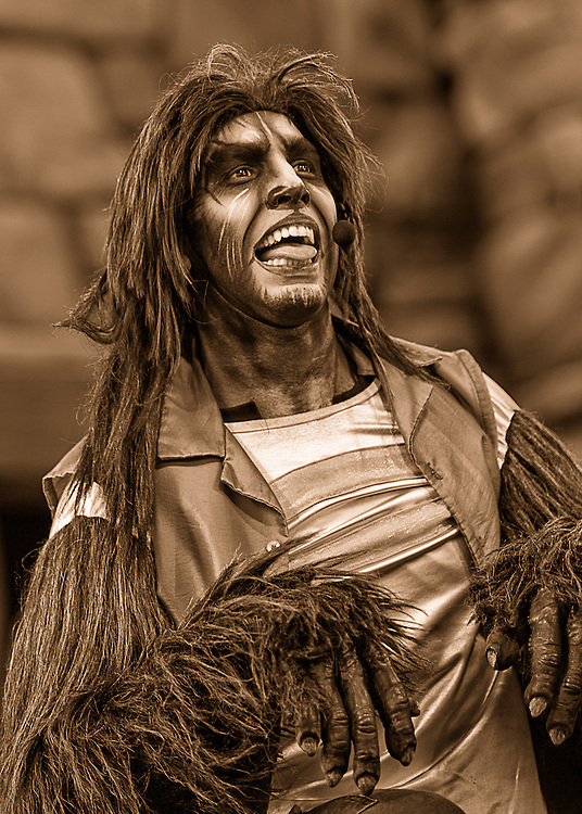 A werewolf just begging for someone to come and scratch behind his ear during the Beetlejuice Concert at Universal Studios in Orlando, Florida.