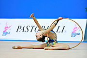 """Bevilacqua Sofia during hoop routine at the International Tournament of rhythmic gymnastics """"Città di Pesaro"""", 01 April, 2016. Sofia is an Italian individualistic gymnast, born on March 01, 2002 in Fano.<br /> This tournament dedicated to the youngest athletes is at the same time of the World Cup."""