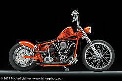 Wango Tango, built from a 1976 Shovelhead by Jeff Hill of Hills Performance in OH. Photographed by Michael Lichter in Columbus, OH on 2/10/18. ©2018 Michael Lichter.