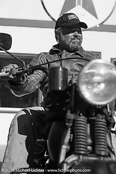 Motorcycle Cannonball organizer Lonnie Isam Jr on his 1934 Harley-Davidson VL during stage 8 of the Motorcycle Cannonball Cross-Country Endurance Run, which on this day ran from Junction City, KS to Burlington, CO., USA. Saturday, September 13, 2014.  Photography ©2014 Michael Lichter.