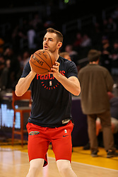 February 27, 2019 - Los Angeles, CA, U.S. - LOS ANGELES, CA - FEBRUARY 27: New Orleans Pelicans Center Jason Smith (14) before the New Orleans Pelicans versus Los Angeles Lakers game on February 27, 2019, at Staples Center in Los Angeles, CA. (Photo by Icon Sportswire) (Credit Image: © Icon Sportswire/Icon SMI via ZUMA Press)