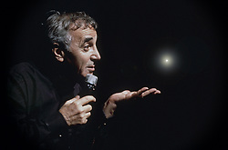Undated file photo of Charles Aznavour on stage. French singer and songwriter Charles Aznavour has died at 94 after a career lasting more than 80 years, The star died at one of his homes in the south east of France. The performer, born to Armenian immigrants, sold more than 180 million records and featured in over 60 films. Photo by Pascal Baril/ABACAPRESS.COM