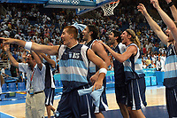 26/08/04 - ATHENS  - GREECE -  - BASKETBALL QUARTERFINAL MATCH   - Indoor Olympic Stadium - <br />ARGENTINA win (69) over GREECE (64) <br />Argentine celebration after win the match.<br />Here Arg. N*15 WOLKOWYSKI RUBEN celebration.<br />© Gabriel Piko / Argenpress.com / Piko-Press