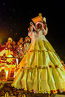 Flaots in the Carnaval parade of Unidos do Porto da Pedra samba school in the Sambadrome, Rio de Janeiro, Brazil.