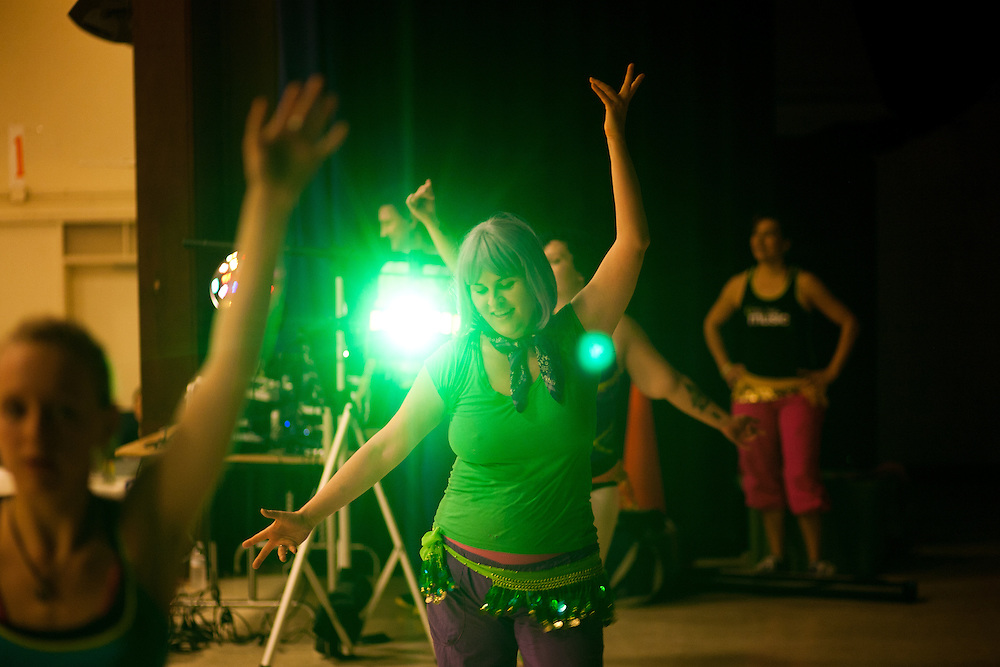 Lydia Evans teaches Zumba Dance for the first time since her masectomy six months earlier.  The event was held at Gray Middle School in Yuba City, California.