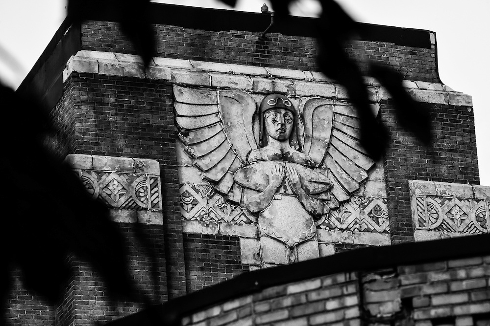 The large design on the exterior wall of the former Guggenheim Airship Institute, which closed in 1949 and is now the Haunted Laboratory during the Halloween season.