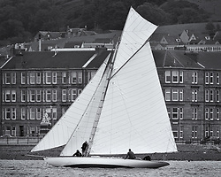 Lucky Girl off the tenements of Largs.<br /> <br /> The Round Cumbraes race at Larsg starting the 3rd Fife Regatta.<br /> <br /> * The Fife Yachts are one of the world's most prestigious group of Classic <br /> yachts and this will be the third private regatta following the success of the 98, <br /> and 03 events.  <br /> A pilgrimage to their birthplace of these historic yachts, the 'Stradivarius' of <br /> sail, from Scotland's pre-eminent yacht designer and builder, William Fife III, <br /> on the Clyde 20th –27th June.   <br />  <br /> <br /> More information is available on the website: www.fiferegatta.com <br />  <br /> Press office contact: 01475 689100         Lynda Melvin or Paul Jeffes
