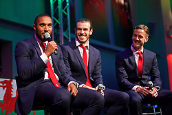 CARDIFF, WALES - Wednesday, June 1, 2016: Wales' captain Ashley Williams, Gareth Bale and Andy King during a Q&A at a charity send-off gala dinner at the Vale Resort Hotel ahead of the UEFA Euro 2016. (Pic by David Rawcliffe/Propaganda)