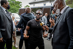 Actor Kevin Hart does a television interview following the memorial service for George Floyd at North Central University in Minneapolis on Thursday, June 4, 2020. (Elizabeth Flores/Minneapolis Star Tribune/TNS)