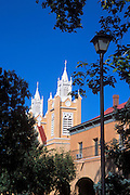 Morning light on San Felipe de Neri Church and lamp post (National Historic Landmark), Old Town, Albuquerque, New Mexico
