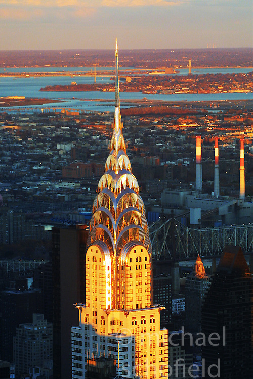 The Chrysler Building from the top top The Empire State Building..Images of the city of New York, United States of America, taken between 20th-22nd November, 2001..©Michael Schofield.