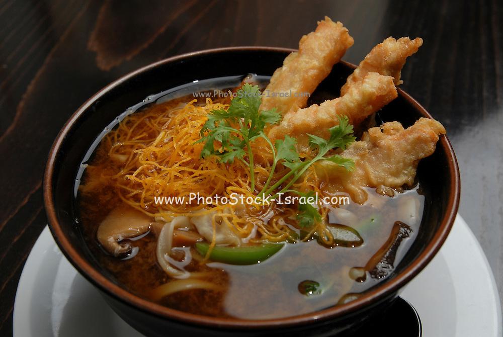 Japanese Miso Soup with Tempura