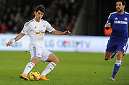Nelson Oliveira of Swansea city in action. Barclays Premier League match, Swansea city v Chelsea at the Liberty Stadium in Swansea, South Wales on Saturday 17th Jan 2015.<br /> pic by Andrew Orchard, Andrew Orchard sports photography.