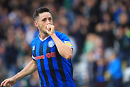 GOAL Ian Henderson celebrates opening the scoring -  during the EFL Sky Bet League 1 match between Rochdale and Gillingham at Spotland, Rochdale, England on 15 September 2018.