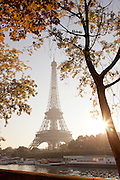 The iconic Eiffel Tower on the banks of the River Seine in Paris, France
